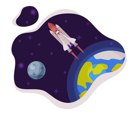 Space Rocket Launch Scene, Space Industry Exploration Concept Themed Vector Illustration Background