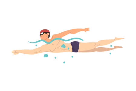 Male Athlete in Swimming Pool, Guy in Swimwear Performing Water Activities, Swim Sport Cartoon Style Vector Illustration