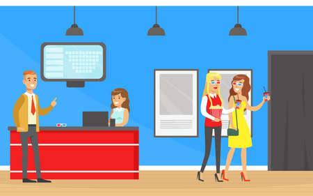 People Going to the Cinema, Visitors Buying Cinema Tickets at Service Ticket Counter Cartoon Vector Illustration