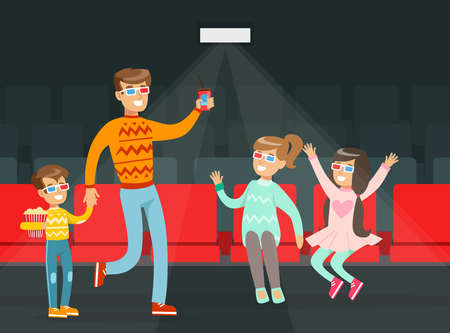Family Visiting Movie Theatre, Parents and Children Wearing 3d Glasses with Popcorn Cartoon Vector Illustration