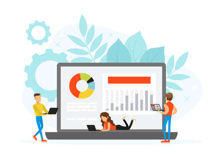 Tiny People Working with Laptop Computers, Freelance, E-learning Concept Flat Vector Illustration