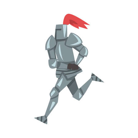 Running Medieval Knight, Chivalry Warrior Character in Full Metal Body Armor with Shield and Sword Cartoon Style Vector Illustration Vektoros illusztráció