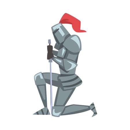 Medieval Kneeling Knight, Chivalry Warrior Character in Full Metal Body Armor with Sword Cartoon Style Vector Illustration Vektoros illusztráció