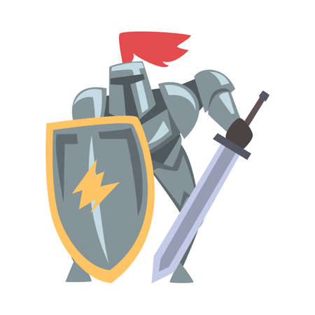 Medieval Knight in Fighting Pose, Chivalry Warrior Character in Full Metal Body Armor with Shield and Sword Cartoon Style Vector Illustration