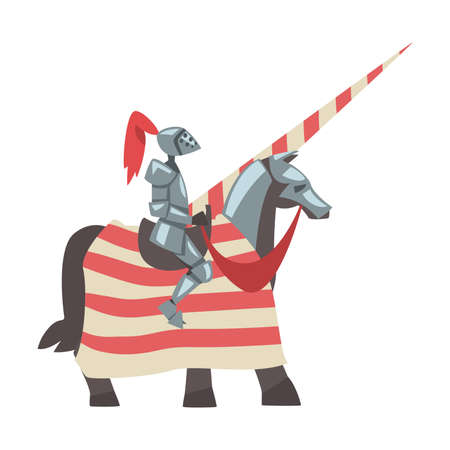 Medieval Knight on Horseback with Spear, Chivalry Warrior Character in Full Metal Body Armor with Shield and Sword Cartoon Style Vector Illustration