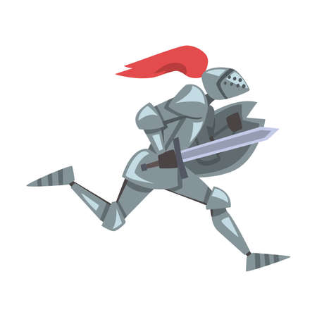 Side View of Running Medieval Knight, Chivalry Warrior Character in Full Metal Body Armor with Shield and Sword Cartoon Style Vector Illustration