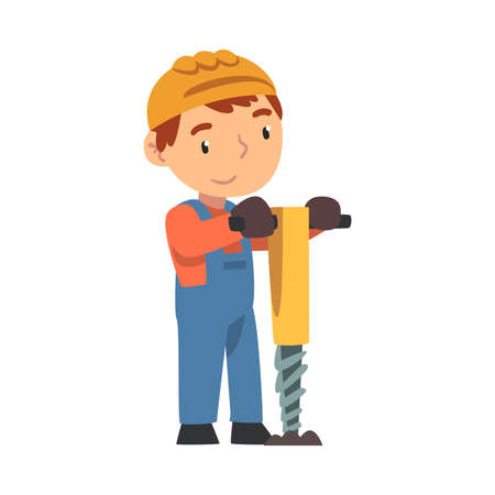 Boy Construction Worker with Pneumatic Plunger, Cute Little Builder Character Wearing Blue Overalls and Hard Hat with Professional Tool Cartoon Style Vector Illustration