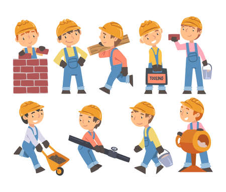 Boy Construction Workers with Professional Tools Set, Cute Little Builders Characters Wearing Blue Overalls and Hard Hat in Action Cartoon Style Vector Illustration Vetores