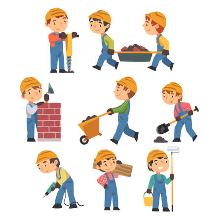 Little Builders with Professional Tools Set, Boy Construction Workers Characters Wearing Blue Overalls and Hard Hat in Action Cartoon Style Vector Illustration