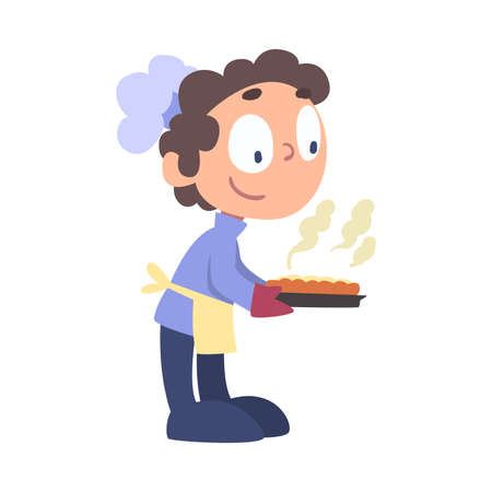 Boy Chef Baking Pie, Cute Child Professional Cooker Character Wearing White Hat and Apron Cooking Delicious Food on Kitchen Cartoon Style Vector Illustration