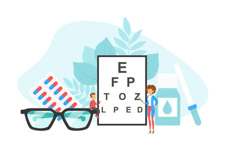 Tiny Ophthalmologist Doctor Checking up Vision of Patient, Ophthalmology, Eye Health Concept Flat Vector Illustration