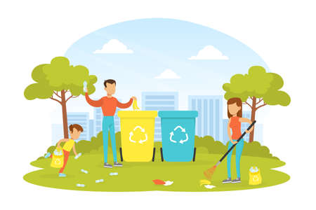 People Taking Care about Ecology, Family Collecting and Putting Rubbish into Trash Bins, Ecology and Environment Protection Concept Flat Vector Illustration Illustration