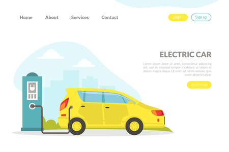 Electric Car Landing Page, Hybrid Vehicle at Charging Service Station, Environmental Care and Protection Concept Flat Vector Illustration