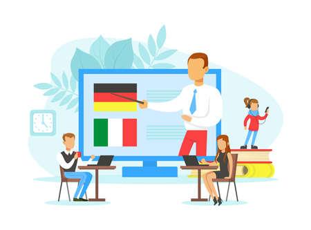 Tiny People Learning Language, Online Education Technology, Language School Flat Vector Illustration