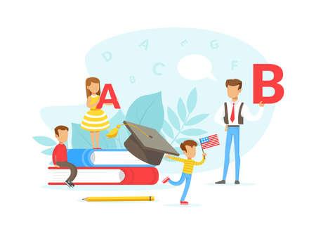 Tiny People Learning Foreign Language, Teacher Teaching Primary School Kids, Language School Flat Vector Illustration