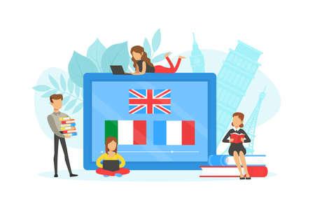 Tiny People Learning Language over Internet, Online Language School Flat Vector Illustration