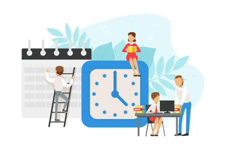 Tiny Office Workers Planning Schedule and Working next to Alarm Clock, Time Management Concept Flat Vector Illustration Illustration