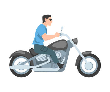 Man Riding Motorcycle, Side View of Male Biker Character Driving Motorbike Cartoon Style Vector Illustration