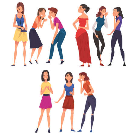 Girl Friends Gossiping and Giggling Behind the Backs of Sad, Stressed Girls Cartoon Vector Illustration on White Background