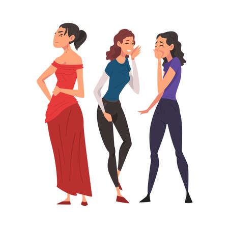 Two Girl Friends Gossiping and Giggling Behind Beautiful Woman in Red Dress Cartoon Vector Illustration on White Background Stock Illustratie
