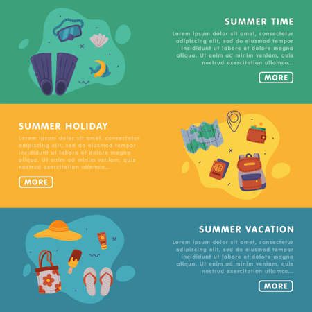 Summer Holiday Landing Page Templates Set, Journey on Holidays, Adventure, Tourism Vector Illustration