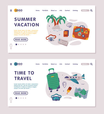 Time to Travel Landing Page Onboard Screen for Website, Beach Holidays, Hiking, Tourism Concept Cartoon Style Vector Illustration