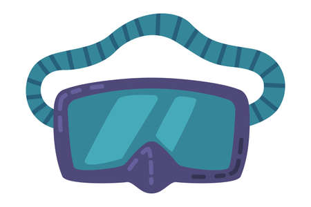 Scuba Diving Mask, Summer Vacation Accessory Cartoon Style Vector Illustration Vectores