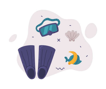 Travel or Vacation Accessories Set, Scuba Diving Mask and Flippers, Journey on Holidays, Adventure, Tourism Cartoon Style Vector Illustration