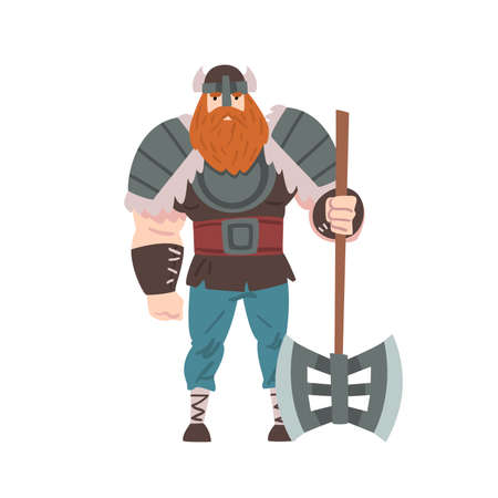 Strong Viking Warrior with Double Axe, Scandinavian Mythology Character in Traditional Outfit Cartoon Style Vector Illustration