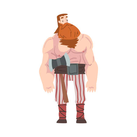Viking Warrior, Red Bearded Scandinavian Mythology Character in Traditional Outfit Cartoon Style Vector Illustration