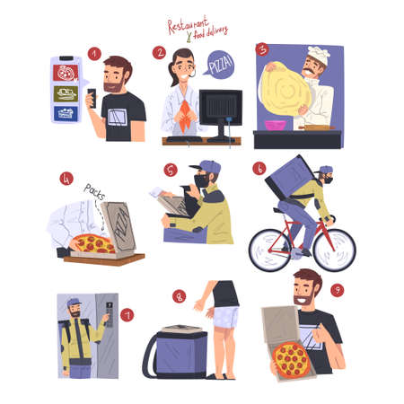 Asian Food Express Delivery Service, People Ordering Wok, Chef Cooking, Courier Delivering Food Cartoon Style Vector Illustration Vecteurs