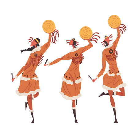 Native American Indian Ritual Dance, Three Young Women Dancing with Tambourines Wearing Traditional Dress Cartoon Style Vector Illustration