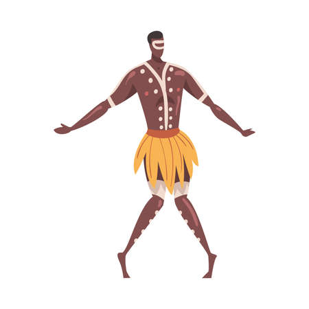 African Ritual Dance, Man Dancing Folk Dance Wearing Loincloth Cartoon Style Vector Illustration Ilustración de vector