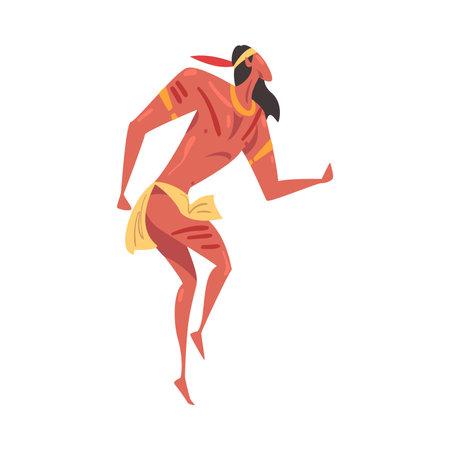 Native American Indian Ritual Dance, Man Dancing Folk Dance Wearing Traditional Costume Cartoon Style Vector Illustration