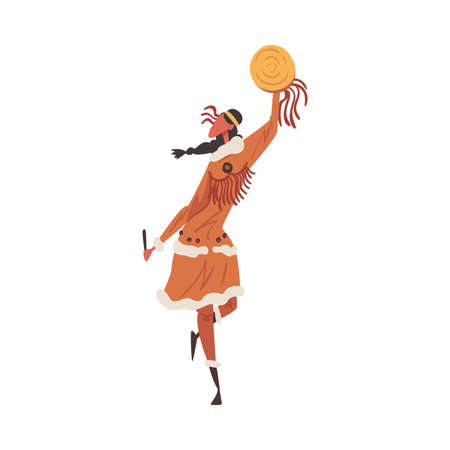 Native American Indian Ritual Dance, Beautiful Young Woman Dancing with Tambourine Wearing Traditional Costume Cartoon Style Vector Illustration
