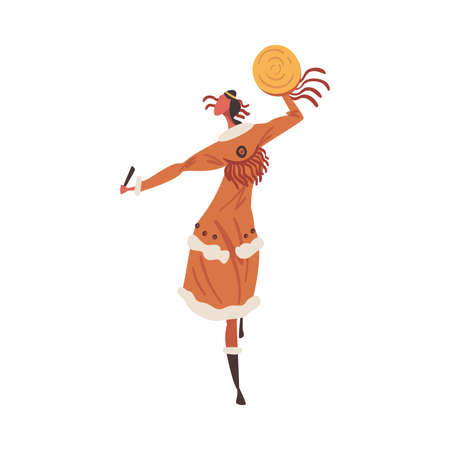 Native American Indian Ritual Dance, Indian Woman Dancing with Tambourine Wearing Traditional Dress Cartoon Style Vector Illustration