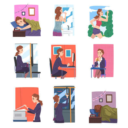 Businesswoman or Office Employee Daily Routine Set, Young Woman Waking Up, Having Breakfast, Working in Office on Computer Cartoon Style Vector Illustration 向量圖像