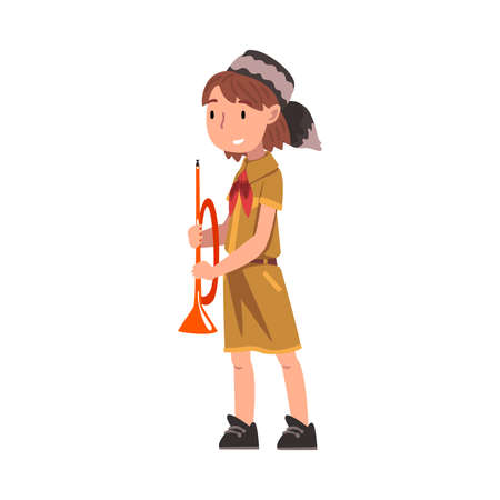 Smiling Scout Girl with Trumpet, Scouting Kid Character Wearing Uniform, Red Neckerchief and Coonskin Cap, Summer Camp Activities Vector Illustration