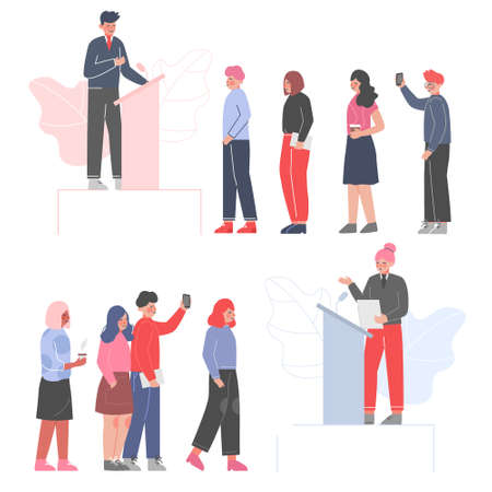 Politician Standing Behind Rostrum and Giving Speech Set, Public Speakers Giving Talk in front of Audience at Business Conference Vector Illustration
