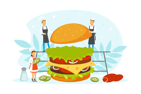 Restaurant Team Cooking Burger, Tiny Chef Characters in Uniform and Cap Cooking Fast Food Dish in Kitchen Vector Illustration