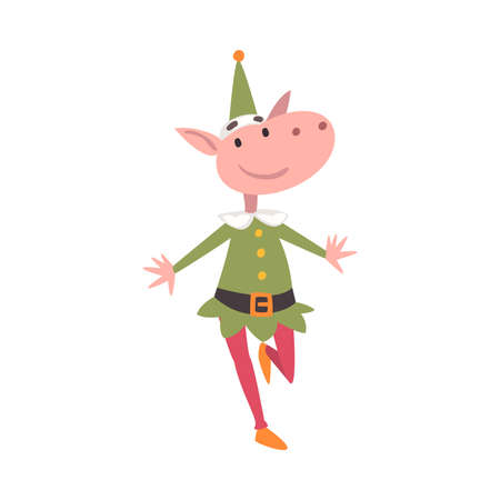 Funny Christmas Elf Character, Symbol of Xmas and New Year Holidays Cartoon Style Vector Illustration