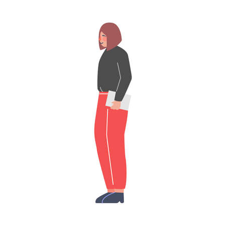 Side View of Young Woman Standing and Listening Attentively Vector Illustration on White Background Illustration