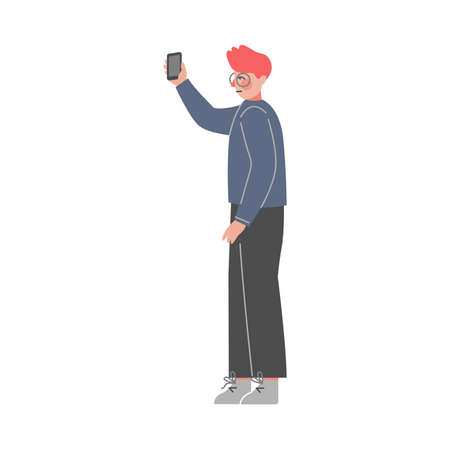 Side View of Young Man Standing, Listening Attentively and Recording Video or Audio Information on Smartphone Vector Illustration