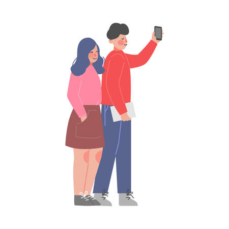 Young Man and Woman Standing, Listening Attentively and Recording Video or Audio Information on Smartphone Vector Illustration