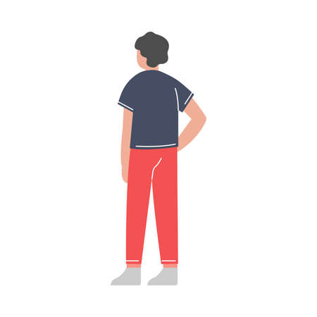 Back View of Young Man Standing and Listening Attentively Vector Illustration on White Background