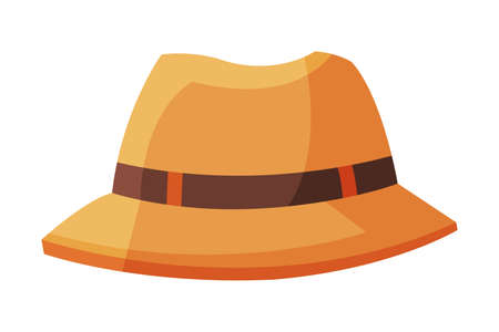 Summer Male Hat, Traveling and Tourism Accessory Vector Illustration on White Background