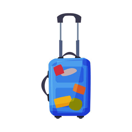 Modern Plastic Suitcase on Wheels with Travel Stickers, Summer Vacation Object, Traveling and Tourism Vector Illustration on White Background