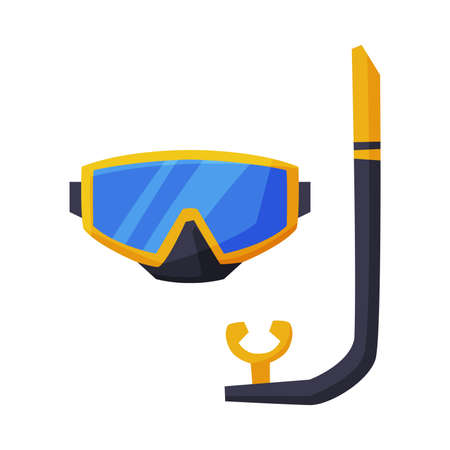 Scuba Diving Mask, Summer Vacation Accessory, Traveling and Tourism Vector Illustration on White Background