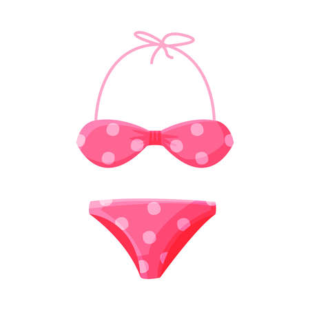 Pink Dotted Bikini Female Swimwear, Summer Vacation Object, Traveling and Tourism Vector Illustration Isolated on White Background