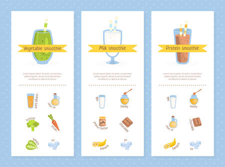 Smoothie Recipes Set, Vegetable, Milk, Protein, Raw Natural Food Drinks, Healthy Tasty Natural Cocktails Vector Illustration
